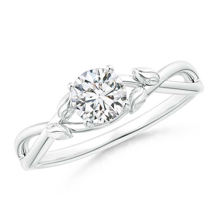 Angara Solitaire Diamond Leaf and Vine Engagement Ring 5kuww0