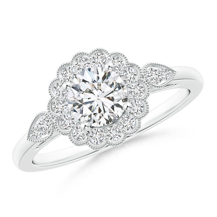 Angara Milgrain Edges Enhanced Black Diamond Solitaire Ring in 14K White Gold 4zq4it