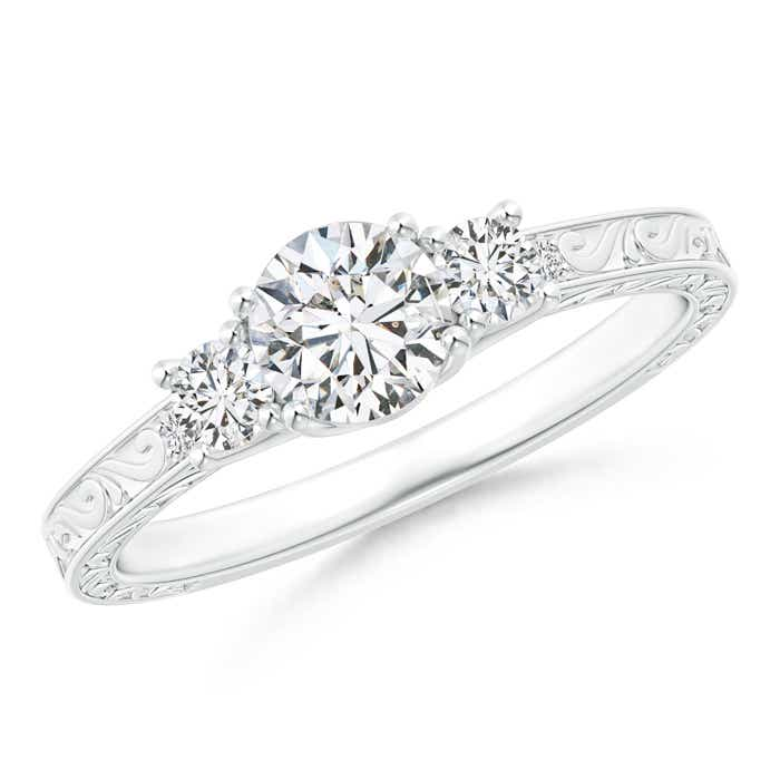 Angara Three Stone Round Diamond Engagement Ring with Heart-Motifs Bj6uM