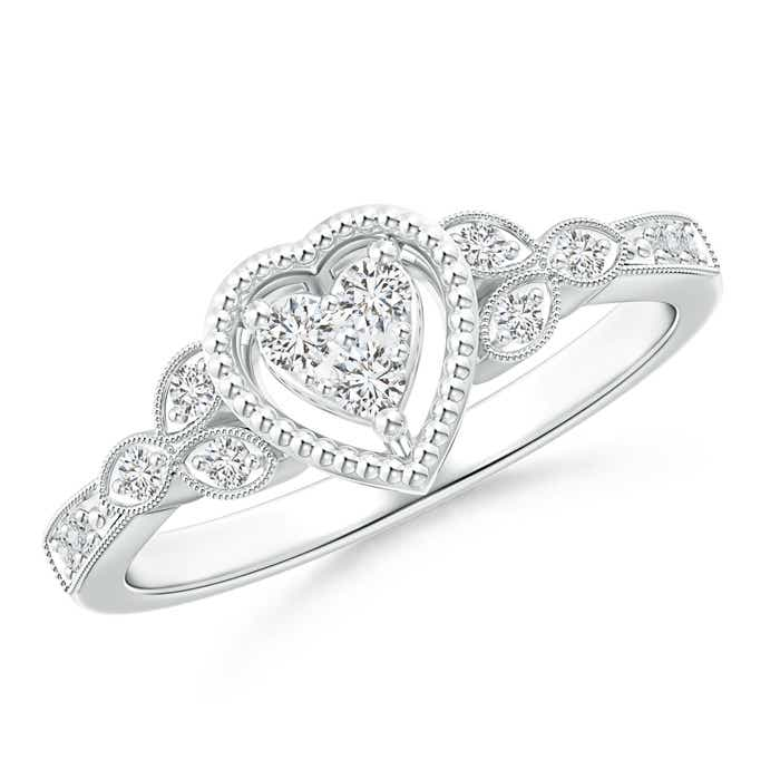 Angara Milgrain Petal Diamond Composite Heart Promise Ring