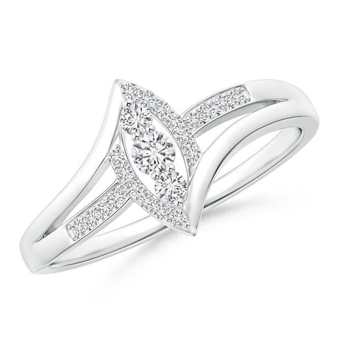 Angara Round Diamond Bypass Promise Ring in Platinum SPwVK