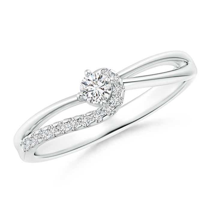 Angara Solitaire Diamond Leaf and Vine Engagement Ring