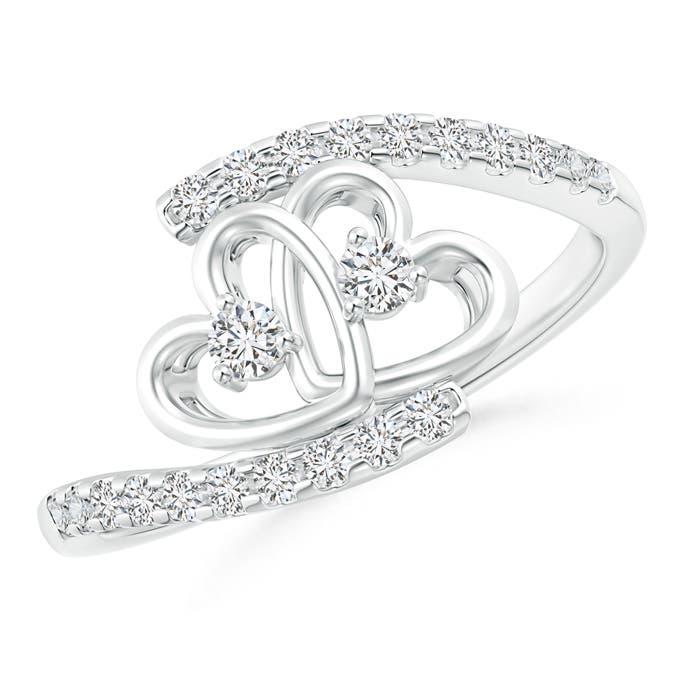 Angara Entwined Double Diamond Bypass Heart Promise Ring DoRjZZ