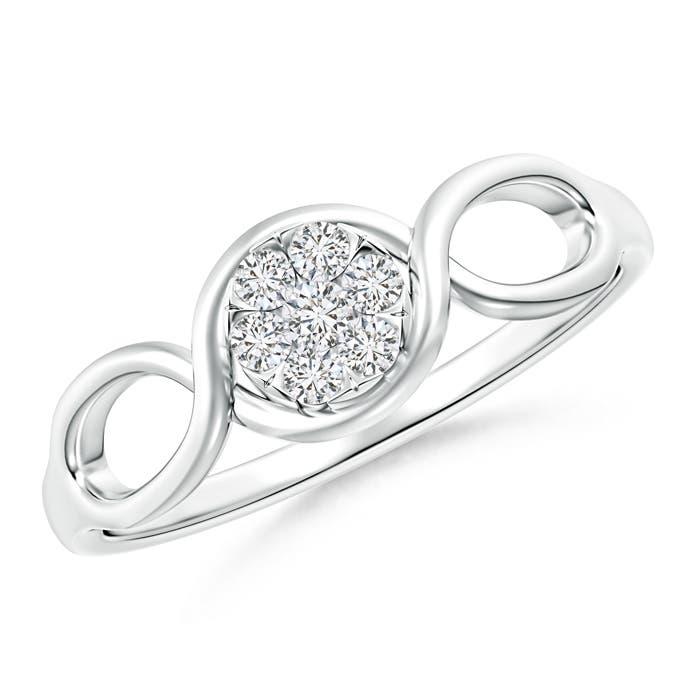 Angara Round Cluster Diamond Daisy Flower Ring 12C1ygGnBN