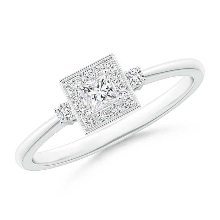 Angara Princess-Cut Diamond Cushion Halo Promise Ring