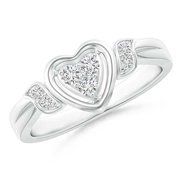 Angara Round Diamond Criss Cross Heart Promise Ring CoKv14J0