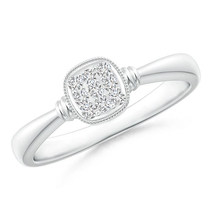 Angara Cushion Framed Composite Diamond Art Deco Promise Ring 7cJj1R55v