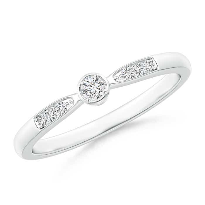 Angara Solitaire Round Diamond Promise Ring White Gold U7Igsj0RRa