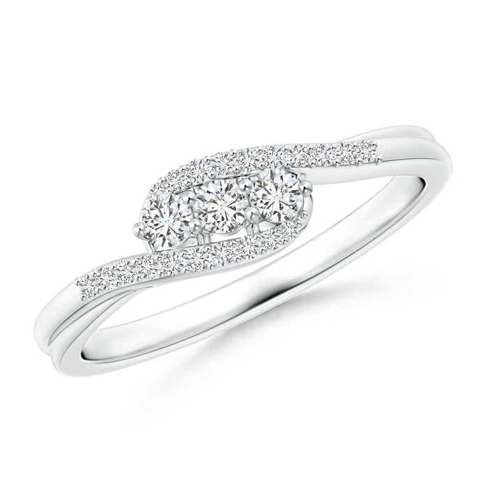 Angara Three Stone Round Diamond Twin Bypass Ring j4bnHtu