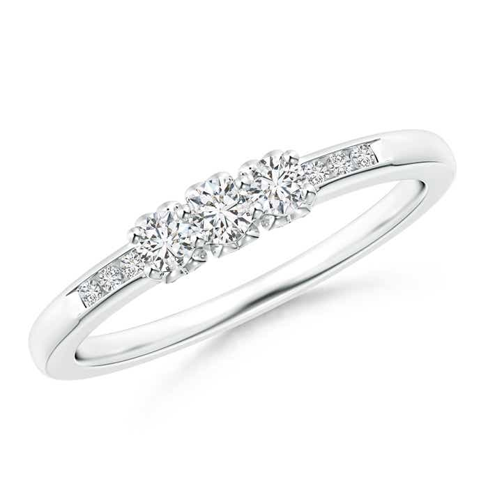 Angara Three Stone Round Diamond Engagement Ring with Heart-Motifs HPXjkqkbyl