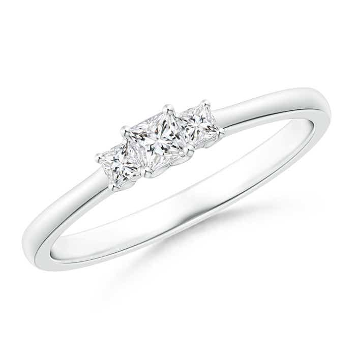 Angara Classic Three Stone Princess-Cut Diamond Promise Ring