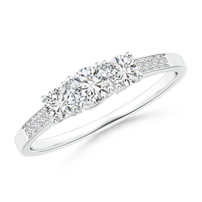 Angara Three-Stone Round Diamond Collar Engagement Ring u5uTVQC