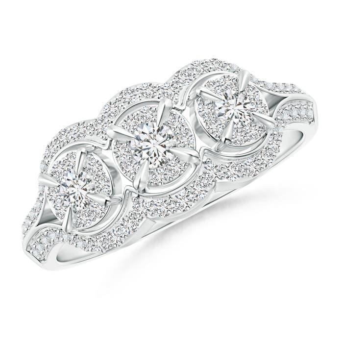 Angara Claw-Set Triple Diamond Floating Halo Engagement Ring dn4KlUJwBA