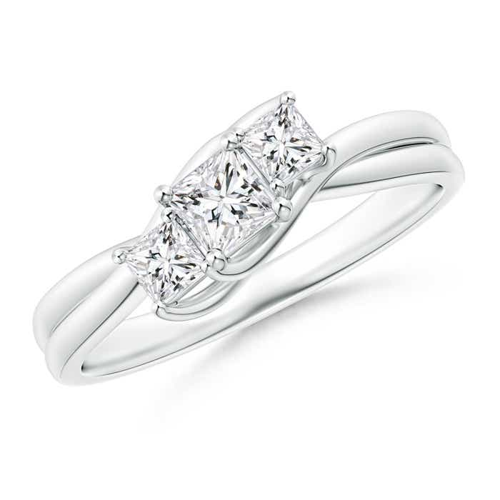Angara Classic Princess-Cut Diamond Three Stone Ring xq8mQc9