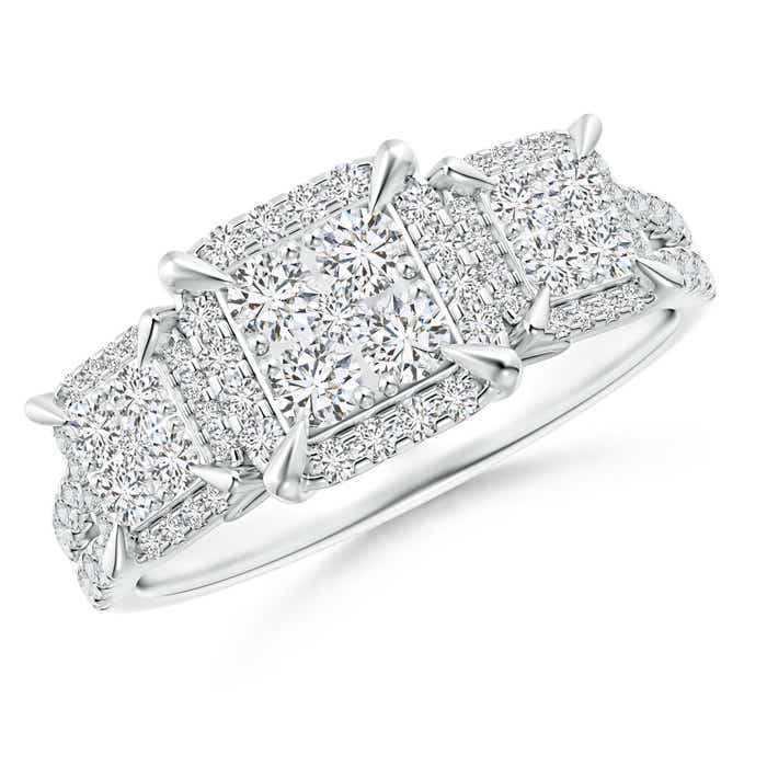 Angara Claw-Set Diamond Triple Square Cluster Engagement Ring W4bBjy