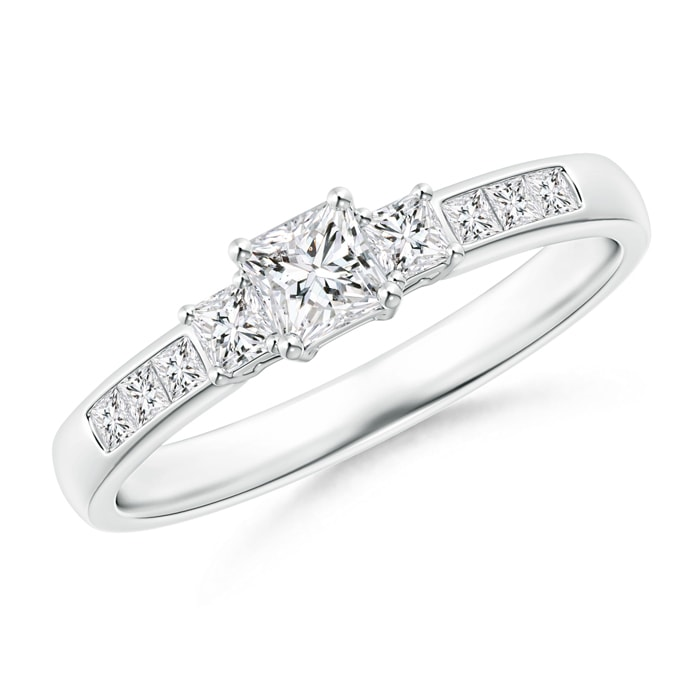 Angara 3-Stone Princess Cut Diamond Tapered Ring XQ7rXrdUpL