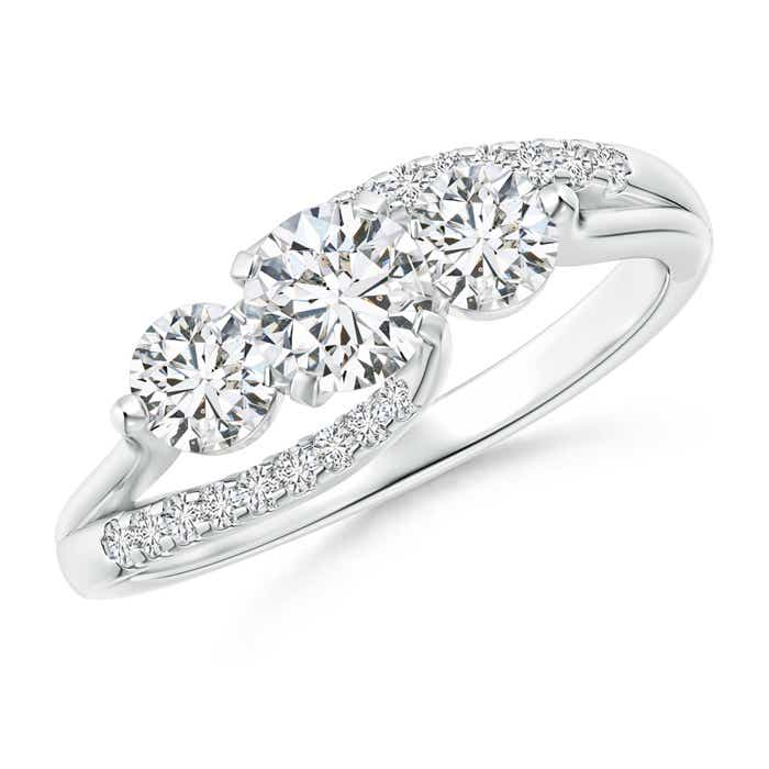 Angara Bypass Diamond Ring in White Gold