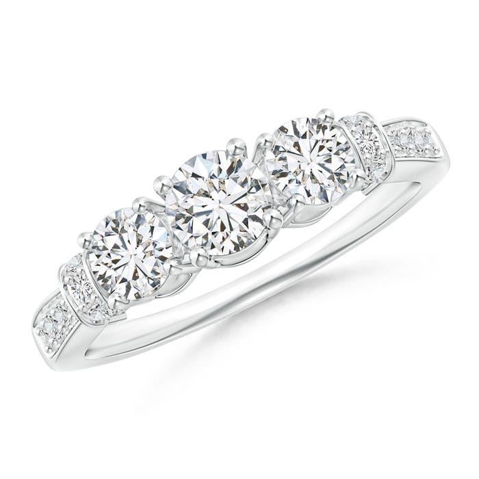 Angara Round Trellis Diamond Three Stone Engagement Ring ihuqjFb