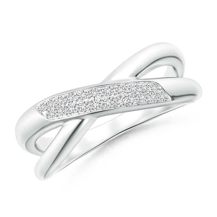 Angara Pave-Set Diamond Criss-Cross Wedding Band