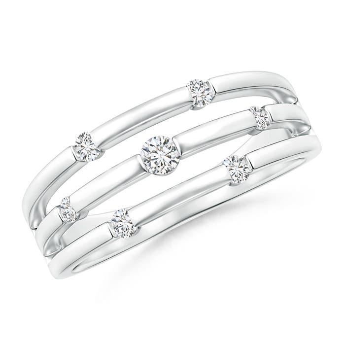 Angara Triple Row Dotted Diamond Orbit Ring z3MMu