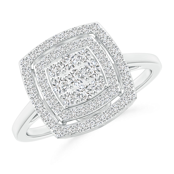 Angara Composite Diamond Cushion Halo Engagement Ring D3ERItBn