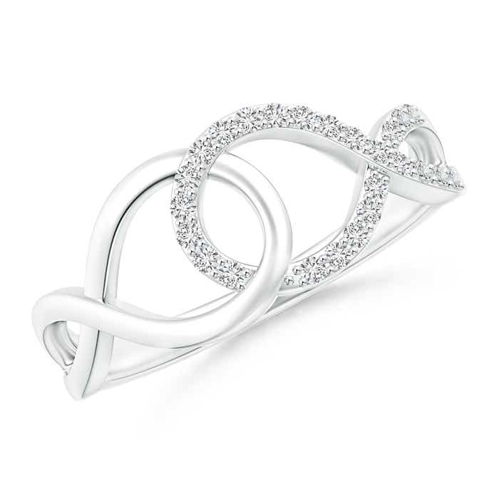 Angara Interlinked Pave-Set Diamond Open Loop Ring fNOxUt