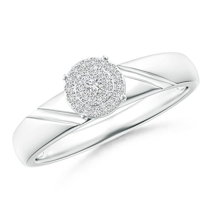 Angara Prong Set Halo Diamond Engagement Ring in Platinum o8racmW4