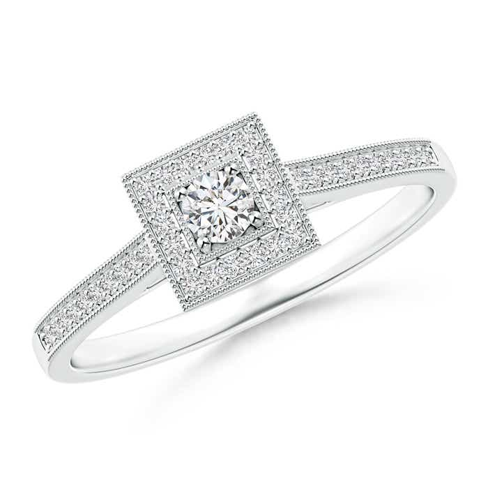 Angara Milgrain Outlined Diamond Square Halo Engagement Ring MN5Y0