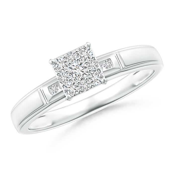 Angara Milgrain-Edged Diamond Square Halo Engagement Ring Yxh3Q