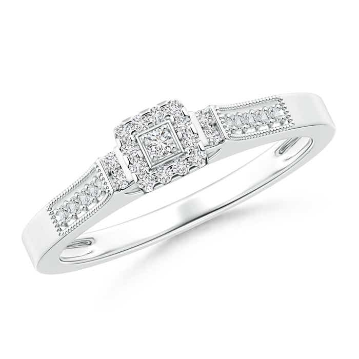 Angara Milgrain Outlined Diamond Square Halo Engagement Ring 1ofO0zF