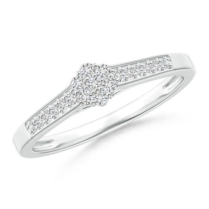 Angara Milgrain-Edged Pave Set Diamond Flower Engagement Ring BsJE5