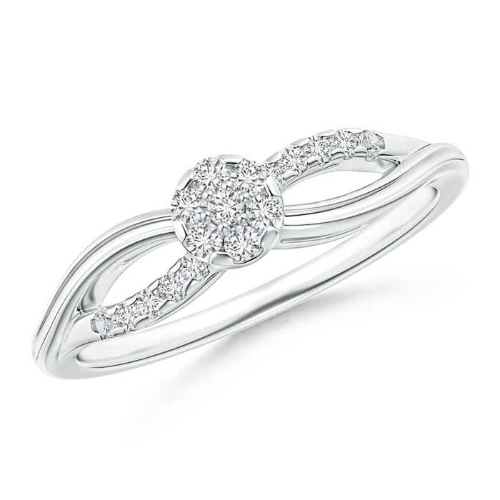 Angara Criss-Cross Diamond Floral Cluster Engagement Ring