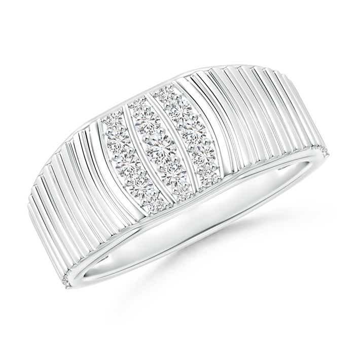 Angara Triple-Row Diamond Vertical Stripe Ring for Him 2oyZYl
