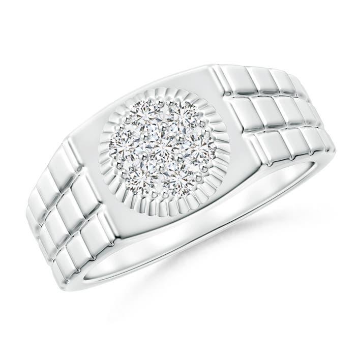 Angara Rectangular Composite Diamond Convex Mens Ring i4l4Z857Dr