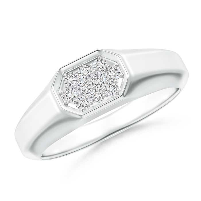 Angara Triple-Row Diamond Vertical Stripe Ring for Him E9LpR8DG
