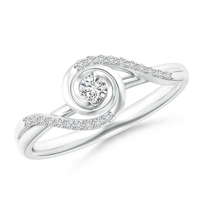 Angara Solitaire Diamond Clover Bypass Ring 3spgr