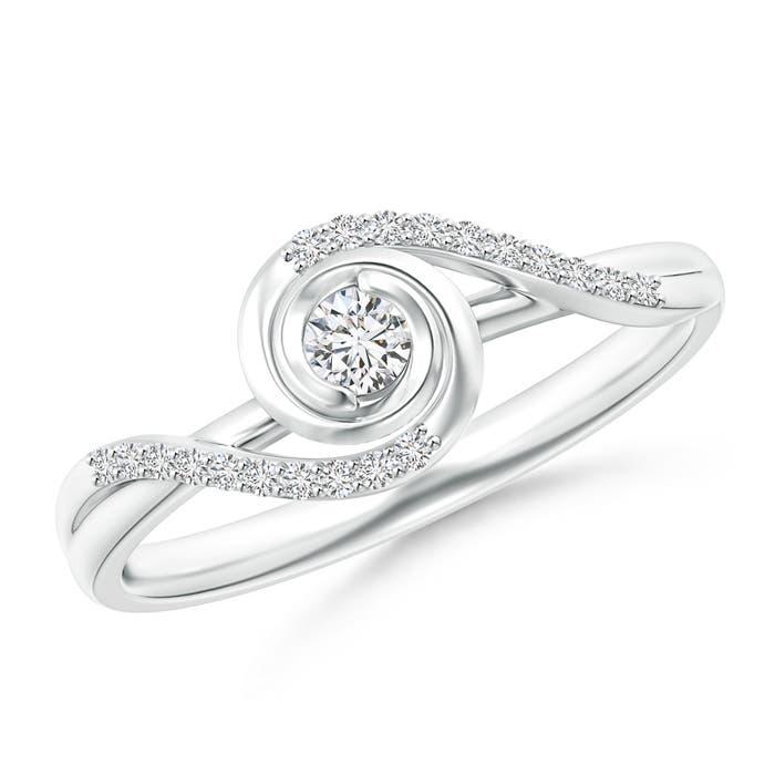 Angara Round Diamond Bypass Ring in White Gold uU8BkRwK3w