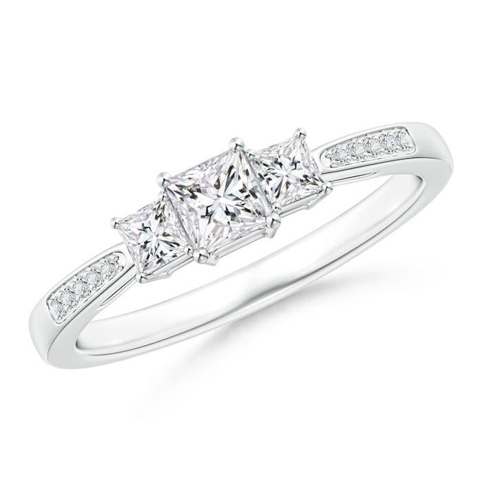 Angara Tapered Shank Classic Princess Diamond Ring Strpt