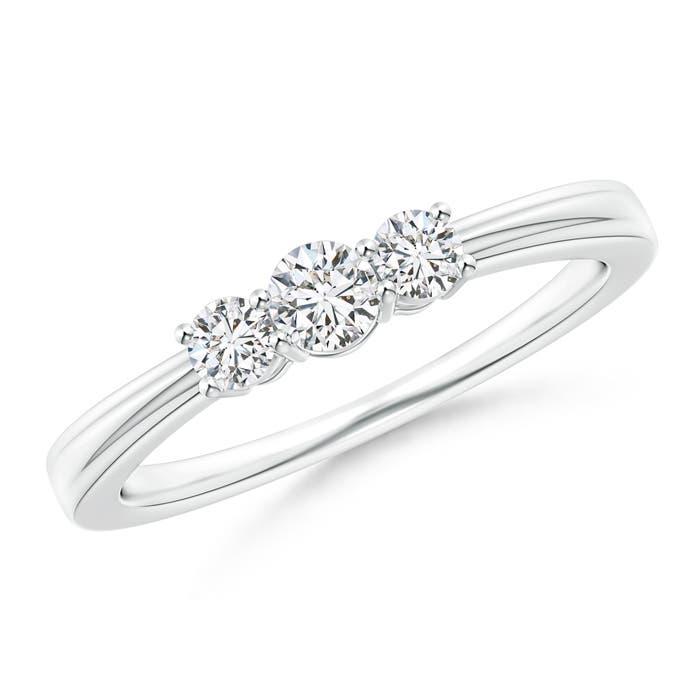 Angara Step-Edged Three Stone Diamond Tapered Ring Jksddvi2TN