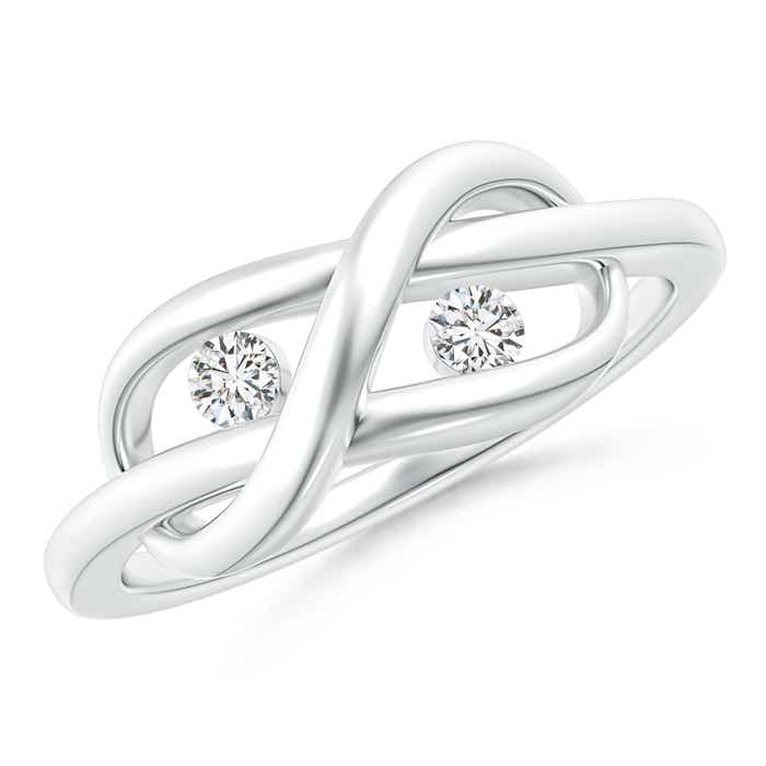 Angara Two Stone Diamond Infinity Knot Ring in Platinum 54jWtRG
