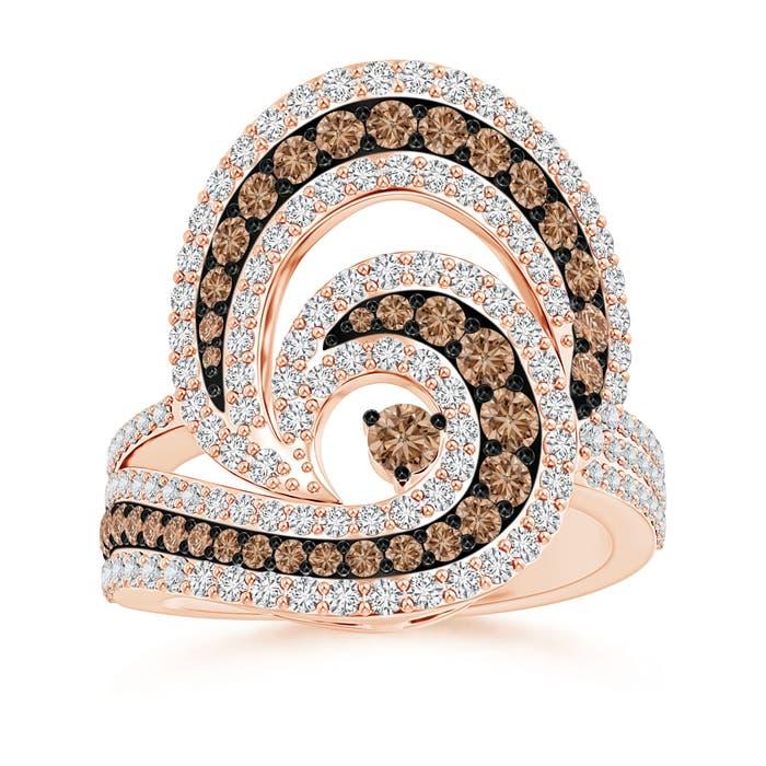 Angara Brown and White Diamond Cocktail Ring with Swirls wVB6iq