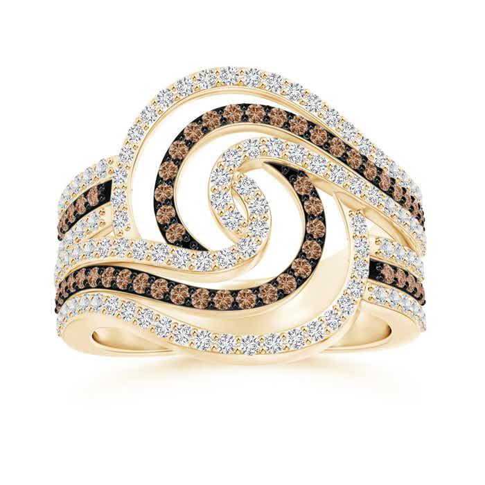 Angara Brown and White Diamond Cocktail Ring with Swirls uOQs1T2