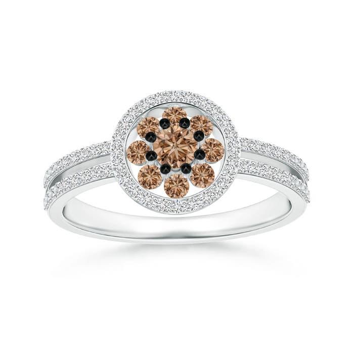 Angara Brown Diamond Collar Engagement Ring in Platinum QMeCbY