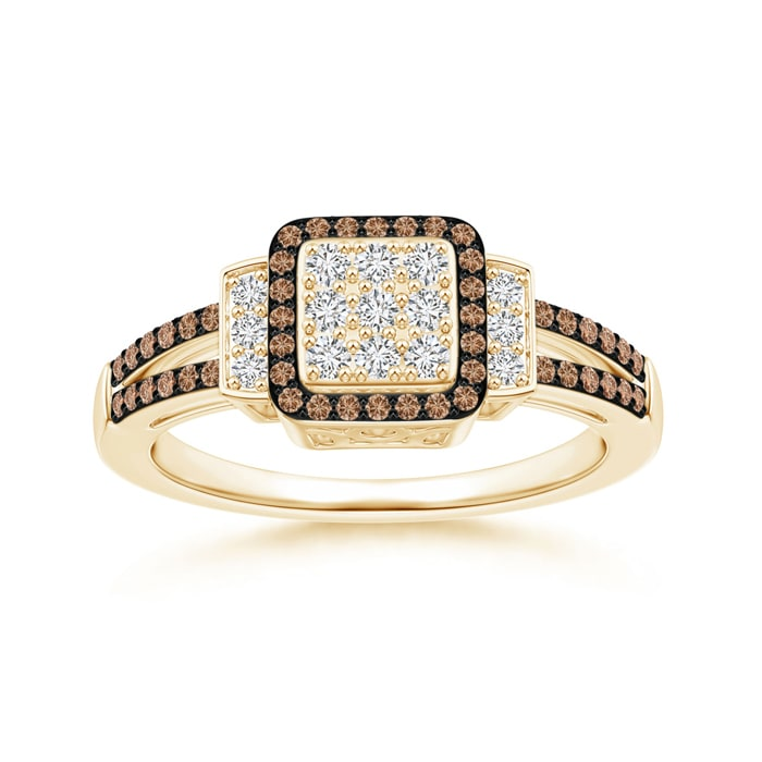 Angara Brown Diamond Cluster Halo Ring in Yellow Gold aeFd7YuhBo