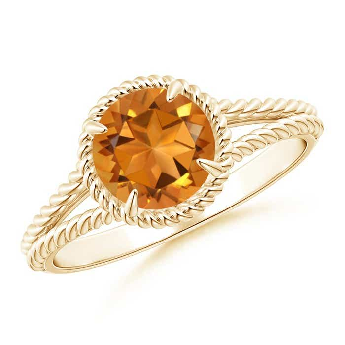 Angara Twist Shank Citrine Ring in Yellow Gold