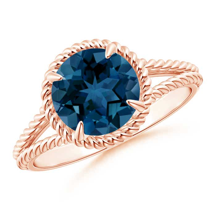 Angara Prong Set Round London Blue Topaz Cocktail Ring BanRFX73