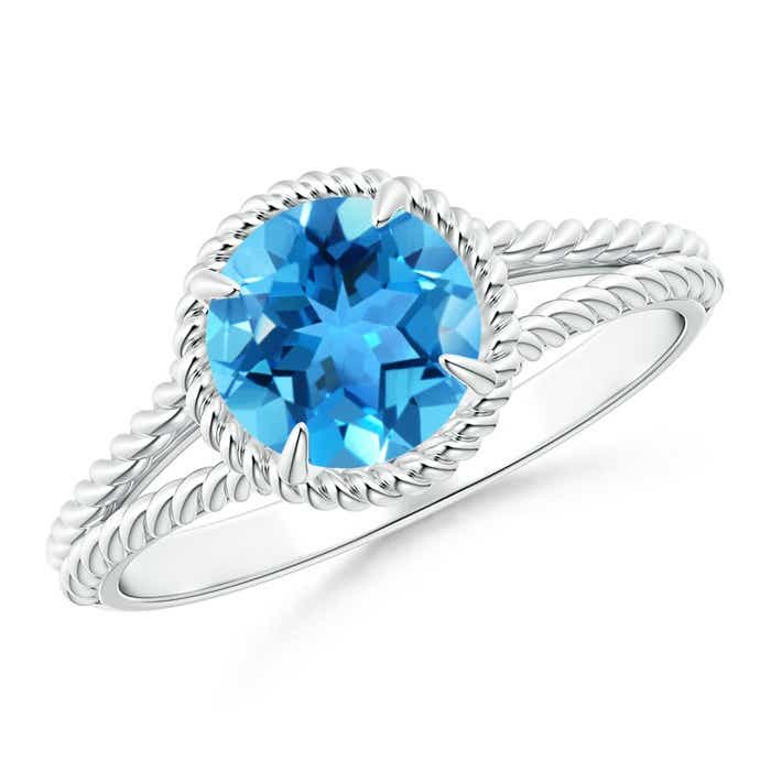 Angara Twist Shank Swiss Blue Topaz Ring in Yellow Gold jBkLie