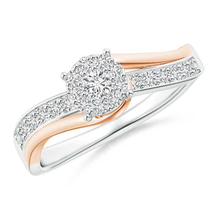 Angara Three Stone Diamond Crossover Ring in Two Tone Gold