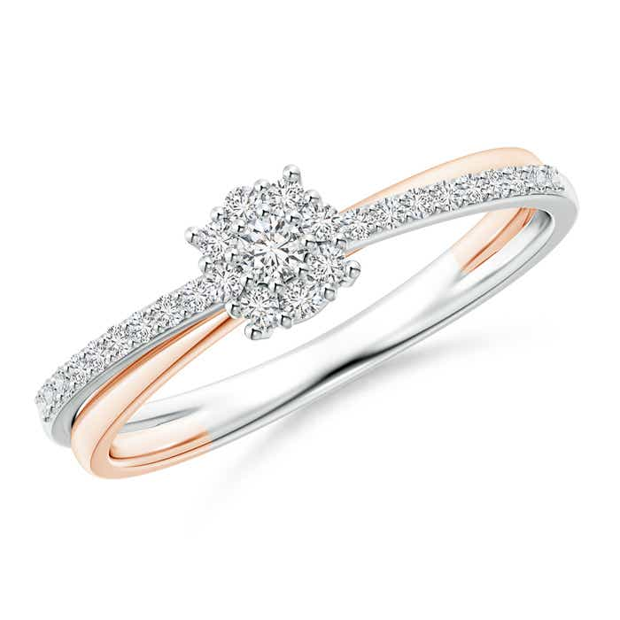 Angara Crossover Round Diamond Engagement Ring in Yellow Gold