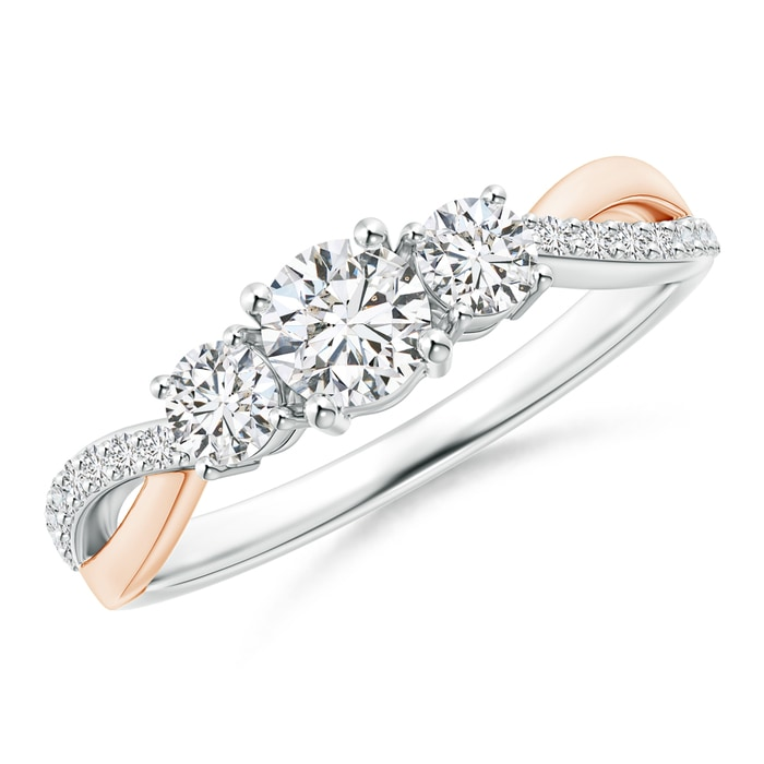 Angara Three Stone Diamond Crossover Ring in Two Tone Gold veFoAA6